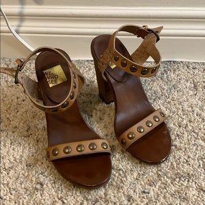 Tan Leather Studded Block Heel Sandals